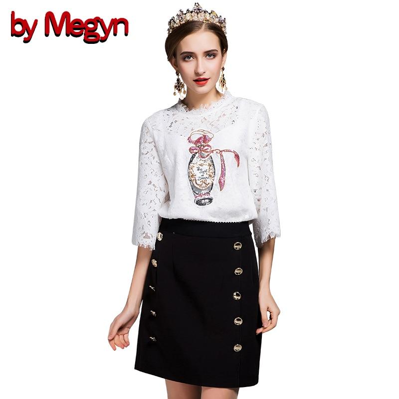 によるmegynデザイナーブランド女性セットスーツ半袖レース中空アウトアップリケトップシャツ+ボタンスカートカジュアルtwinset DG1943