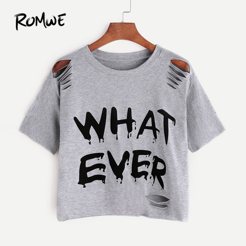 Letter Print Ripped Tee Summer Short Sleeve Crop Women Clothing Round Neck Ripped T-Shirt