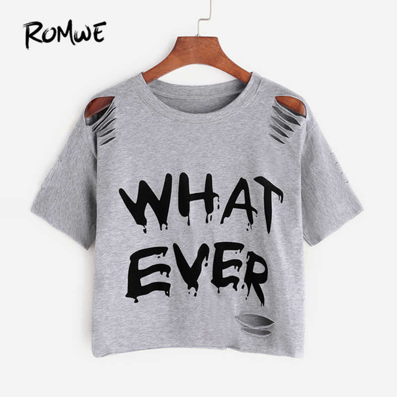 a09cb3e53f5e5 ROMWE Letter Print Ripped Tee Summer Short Sleeve Crop Women Clothing New  Design Grey Round Neck
