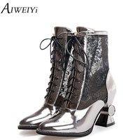 AIWEIYi Strange High Heels Mid Calf Boots Lace up Platform Shoes Gold Silver Spring Autumn Black Booties Glitter Short Booties