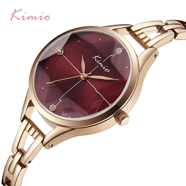 KIMIO Unique Cutting Mirror Waterproof Watch For Women Rose Gold Thin Stainless Steel Bracelet Watches Crystal Dial Wristwatch