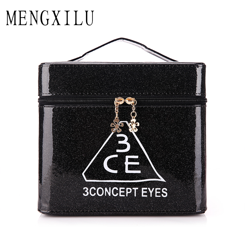 MENGXILU Women S Folding Professional Cosmetic Bag Portable Vanity Cosmetic Cases Travel Storage Box Large Capacity