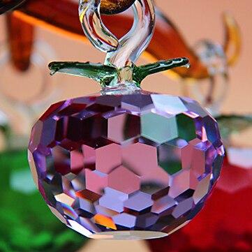 50 мм 1.9 дюйма Новый год рождественской елки висит сократить Фиолетовый Кристалл Стекло Apple Украшения украшения 2017 Navidad дома натальные Декор