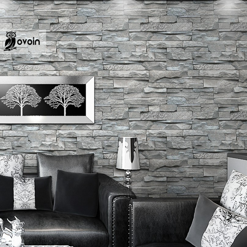 Grey White Embossed Brick Wall Wallpaper Roll Textured 3d Faux Vintage Paper Home Decor For Living Room Bedroom In Wallpapers From