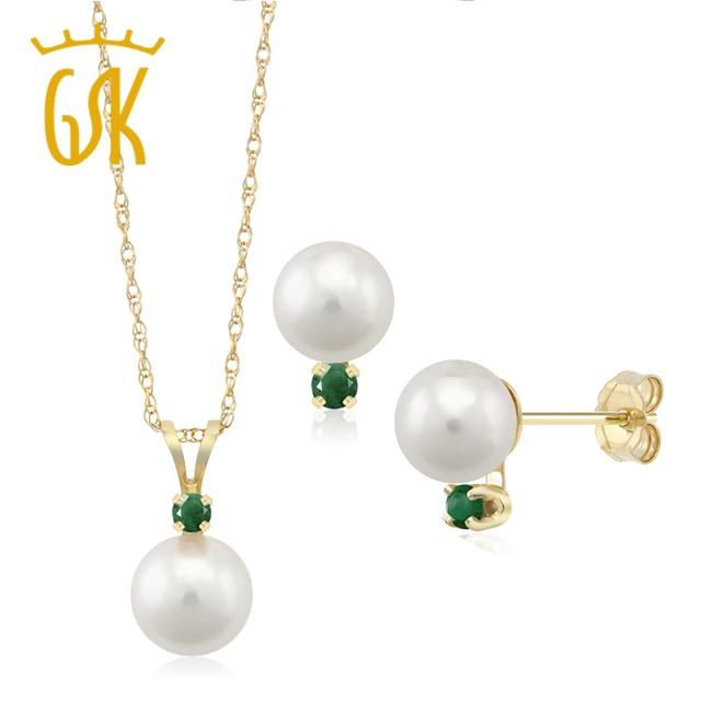 7f524584a2fa GemStoneKing Declaración 14 K Oro Amarillo 7mm Perla Aretes Collar de La  Joyería con Acentos Esmeralda
