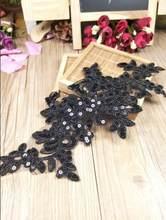 Acessório bordado floral para casamento, 2 peças, preto, lantejoulas, laço, aplique, tiara, arco de cabelo, roupas de vestuário, faça você mesmo