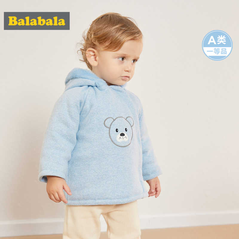 Balabala Infant Baby Boy Girl 100% Cotton Lined Critter Hooded Jacket with Zip Newborn Baby Padded Jacket with Fleece-Lined Hood