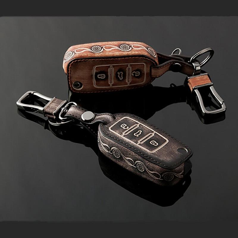 Leather Folding Car Key <font><b>Cover</b></font> for Volkswagen VW Jetta MK6 Tiguan Passat Golf POLO CC Bora Skoda Octavia A5 Fabia Superb