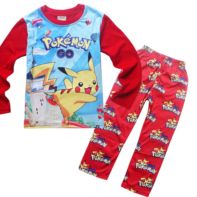 2016 Children Pokemon Go Pajamas Suit Kids Girls Boys Sleeper Pokemon Go Nightwear Kids Tracksuit Clothing Set for Autumn