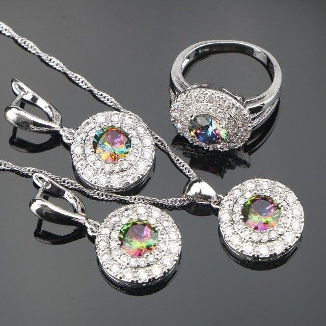 Свадебные украшения Серебро 925 Ювелирные наборы для Для женщин  Серьги Подвеска Цепочки и ожерелья 81847274862