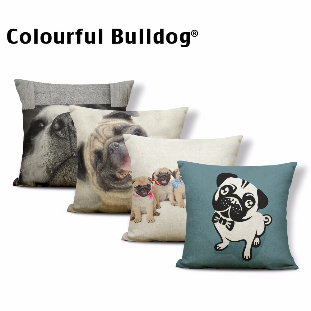 Wholesale Acting Cute Little Pug Cushion Cases 43*43cm Tongue Out Pillow Covers Decorate Living Room Lovely Dogs Ribbon Bow Tie
