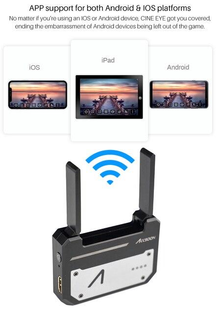 CINEEYE 5G HDMI Transmissão De Imagem Sem Fio Transmissor de Vídeo Sem Fio Mini DH 3D LUT Carregamento para Telefone Andriod IOS iPhone iPad