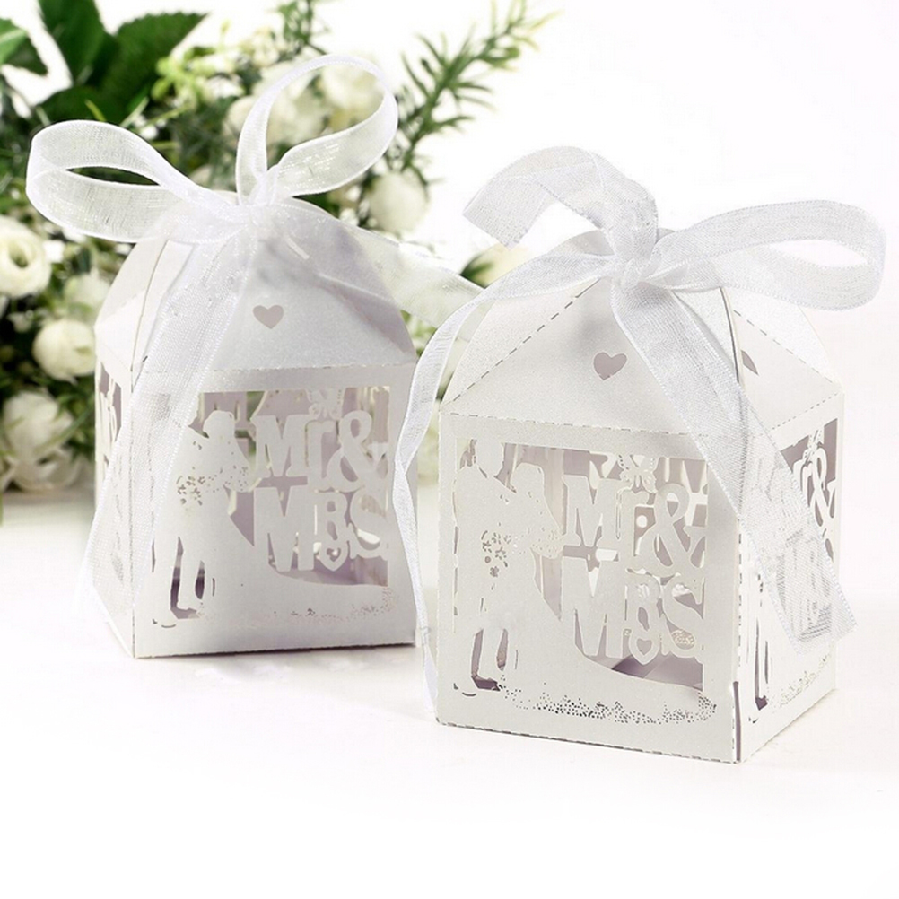 Event Party Supplies 10PCS White Candy Paper Party Box Mr&Mrs ...