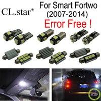 11pcs canbus LED Reverse lamp + Parking city + License plate lamp + Interior Light Kit for Smart Fortwo (2007 2014)