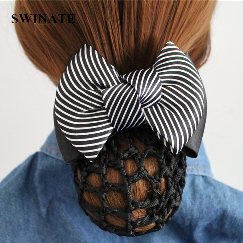 Multi Färger Kvinnor Striped Ribbon Bow Hair Bun Net Snood Crochet Net Bun Hair Cover Kvinnor Hår Tillbehör Office Lady Barrette