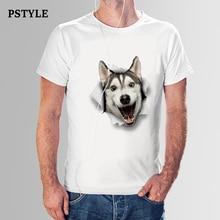 Brand Pstyle Men t shirt funny 3d naughty husky dog print t-shirt summer short sleeve tshirt man casual shirts tee tops цена