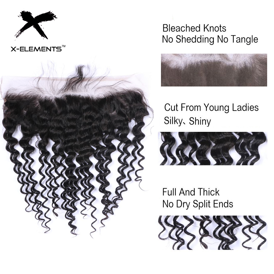 X-Elements Brazilian Deep Wave Frontal 100% Human Hair 13x4 Lace Frontal Deep Wave Non-Remy Natural Color Hand Tied Lace Frontal (4)