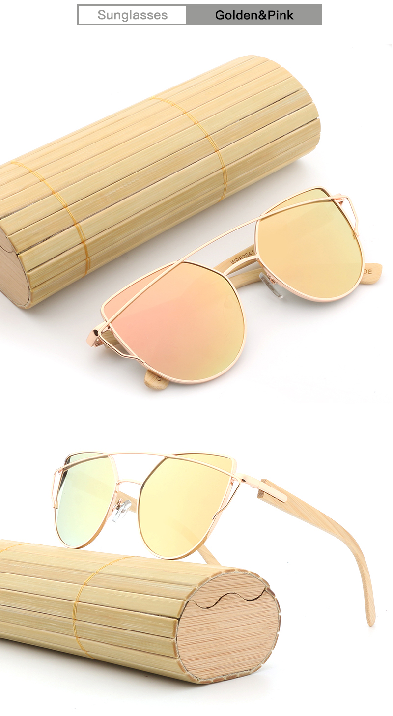 10dc69ea9f Fashion Women Mirror Sunglasses Rose Gold Super Star Bamboo Wood Sun ...