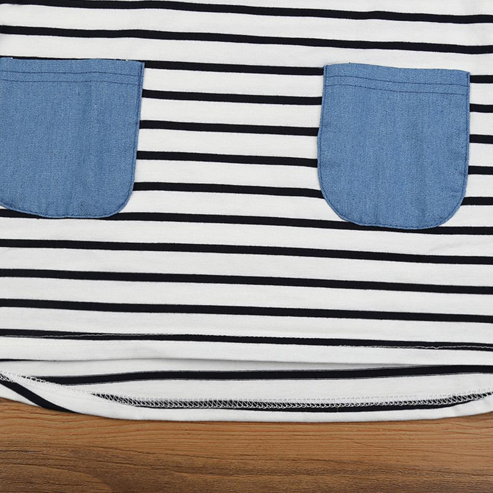 Kids Simple Short Sleeve Stripe Dress with Denim Pockets in Dresses from Mother Kids