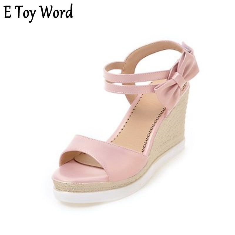 E TOY WOR the summer of 2018 the new sweet bow wedge sandals fish mouth waterproof super female high-heeled platform shoes code summer new models of fish mouth women sandals large size 40 43 yards shoes waterproof platform high heels female sandals obuv