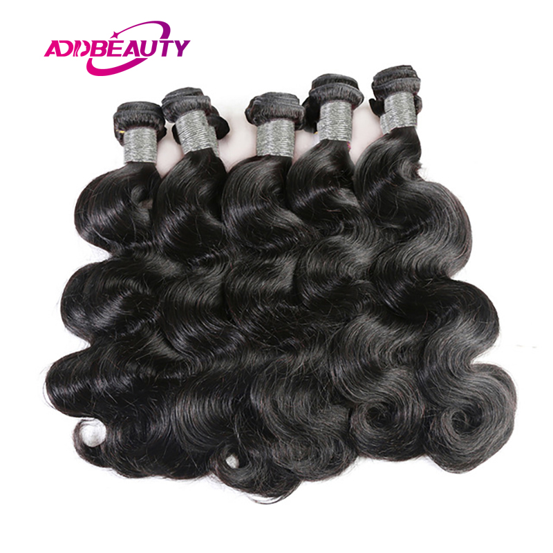 Addbeauty 10Pcs Lot Body Wave Peruvian 100% Human Remy Hair Extension Bundles Deal Weave Natural Color Machine Double Weft