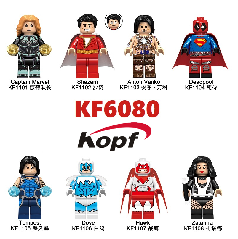 Building Blocks Super Heroes Bricks Shazam Anton Vanko Deadpool Tempest Dove Hawk Zatanna Figures For Children Toys Gift KF6080