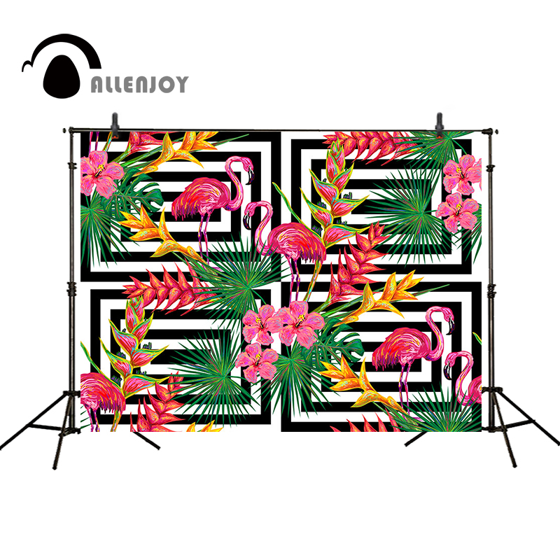 Allenjoy photography backdrops Flamingo background flowers party background fashion black and white stripes pattern photocall