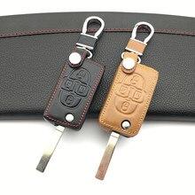 Chave 2018 de couro genuíno, capa para chave de peugeot 100% 1007 807 com 4 botões dobráveis escudo protetor chave