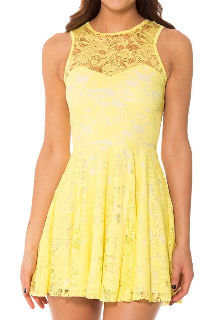 Aliexpress.com : Buy Summer Dress Women Sleeveless Yellow Lace ...