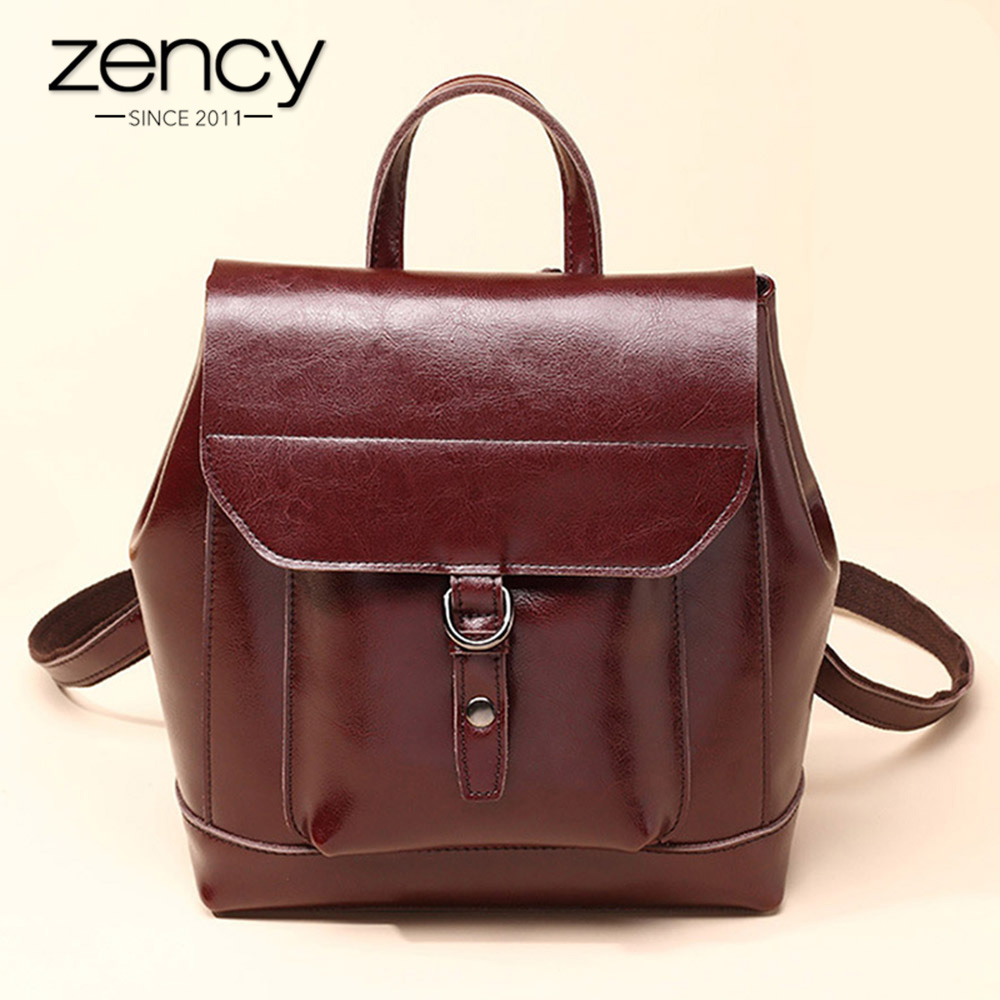 Zency 2017 New Arrival Vintage Women Backpack 100 Genuine Leather Preppy Style Schoolbags For Girls Fashion