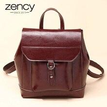 Zency Новое поступление 2017 года Винтаж Для женщин рюкзак 100% Пояса из натуральной кожи Элегантный Дизайн ранцы для модная одежда для девочек женские Дорожные сумки