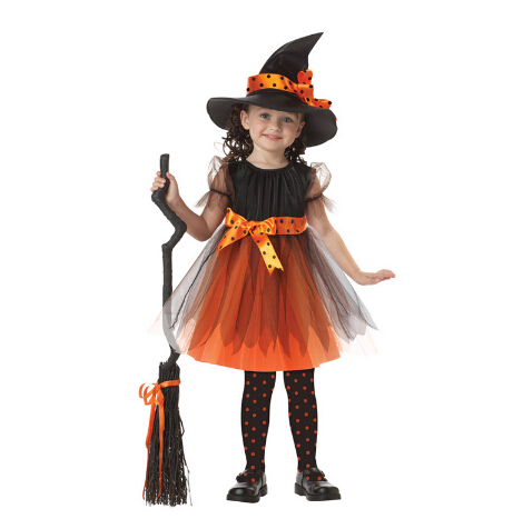 Free shipping girl kid 95-135cm  cute gift witch vampire Halloween kids Costume Dress+hat Cosplay Costumes party stage set