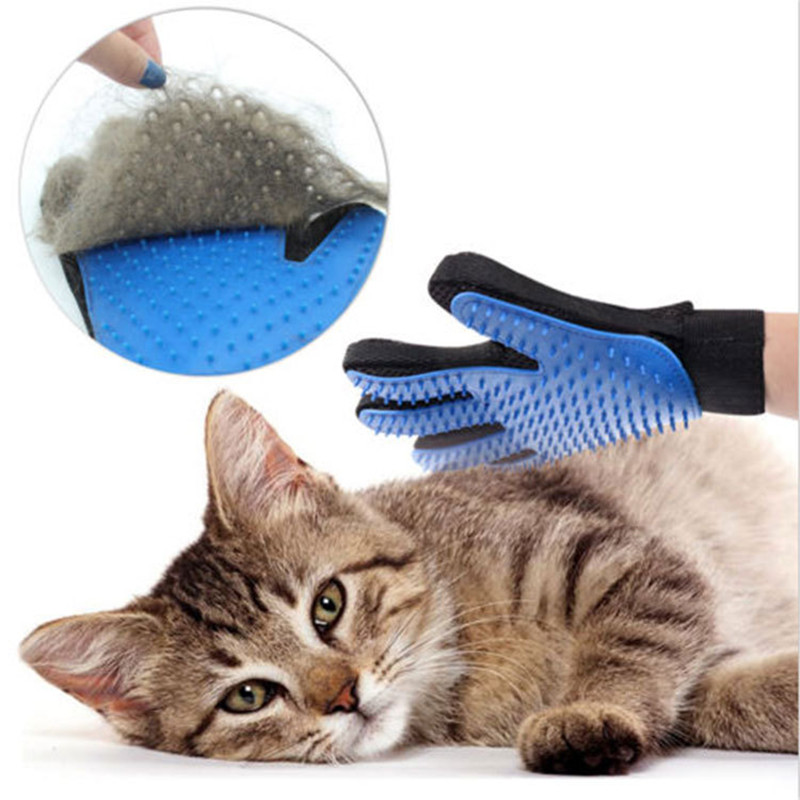 Hair Deshedding Finger Bathing Cleaning Massage Glove For Animal Silicone Pet Hair Removal Trimmer Dog Cat Grooming Glove