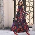 Новая мода печатных макси старинные dress женщины вечерняя одежда с длинным рукавом полная длина довольно партия тонкий цветы o образным вырезом платья
