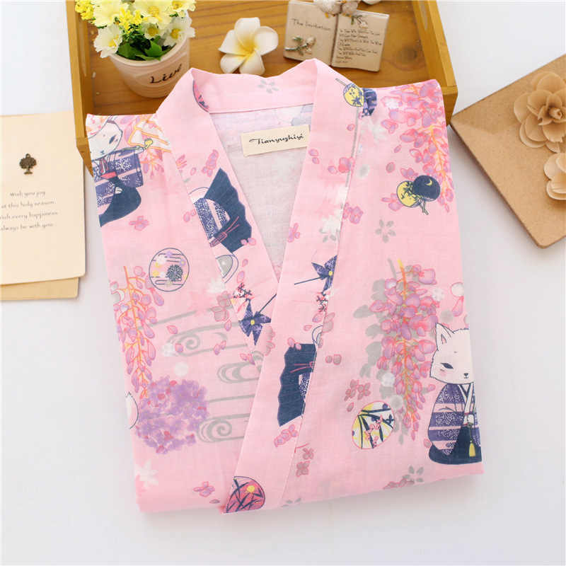 592a4230f6 ... Summer Nightgown 100% Cotton Robes men and Women Kimono Lovers Spa Robe  Cartoon pattern Pajamas ...