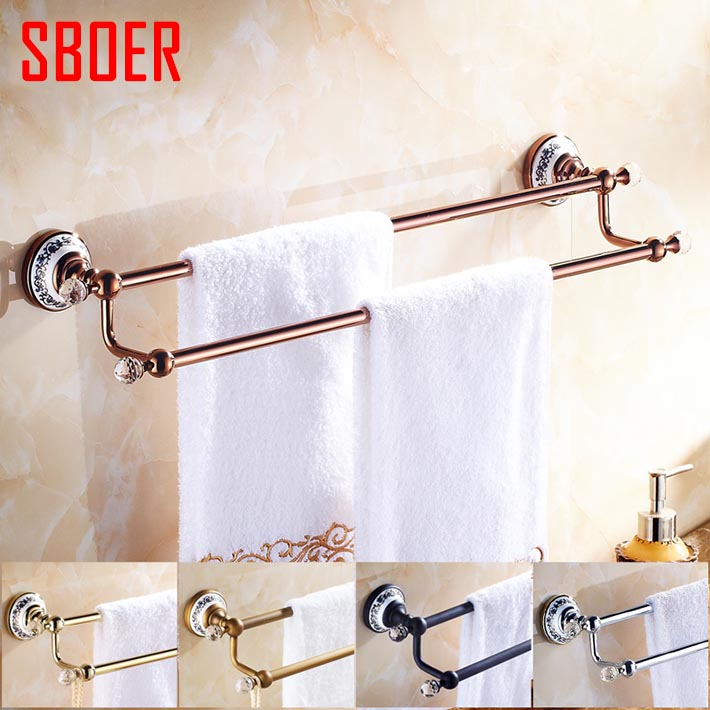 Wall Mounted Bathroom Accessories Crystal ceramic copper brass  Double Towel Bar rose gold antique black  /Towel Holder rail new bullet head bobbin holder with ceramic tube tip protecting lines brass copper material