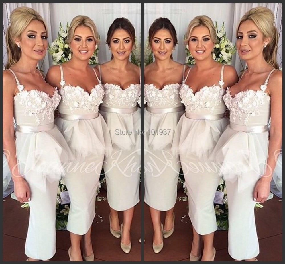 robe demoiselle d honneur elegant popular spaghetti straps applique  mid-calf mermaid short bridesmaid dress wedding party dress da7a3540046f