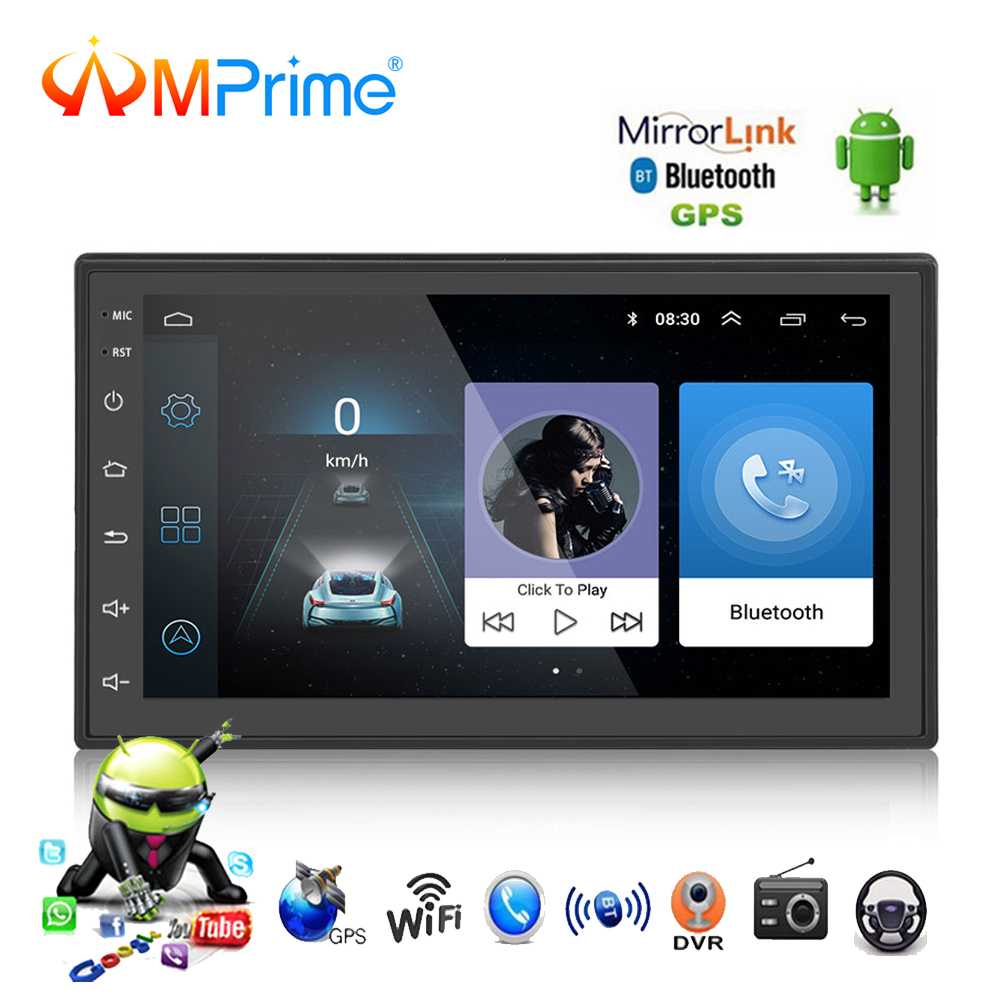 AMPrime 2 Din Car Multimedia Player 7 Android Audio Video Player Touch screen Bluetooth WiFi GPS