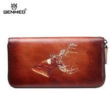 GENMEO Brand New Arrival Genuine Leather Zipper Wallet Women Coin Purse Deer Pattern Cow Hand Strap Bolsa Feminina
