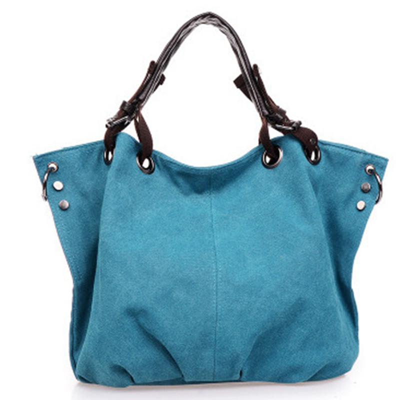 Fashion Canvas Women Handbag Adjustable Straps Shoulder Bag Blue Cusual Crossbody Messenger Tote Zipper