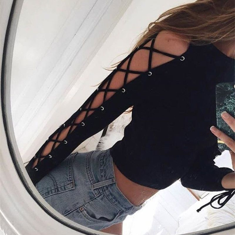 Fashion Sexy Women Long Sleeve Casual Crop Tops Bandage Hollow Out Lace Up Slim Tee Blouse Autumn Spring Black Short Womens Hot