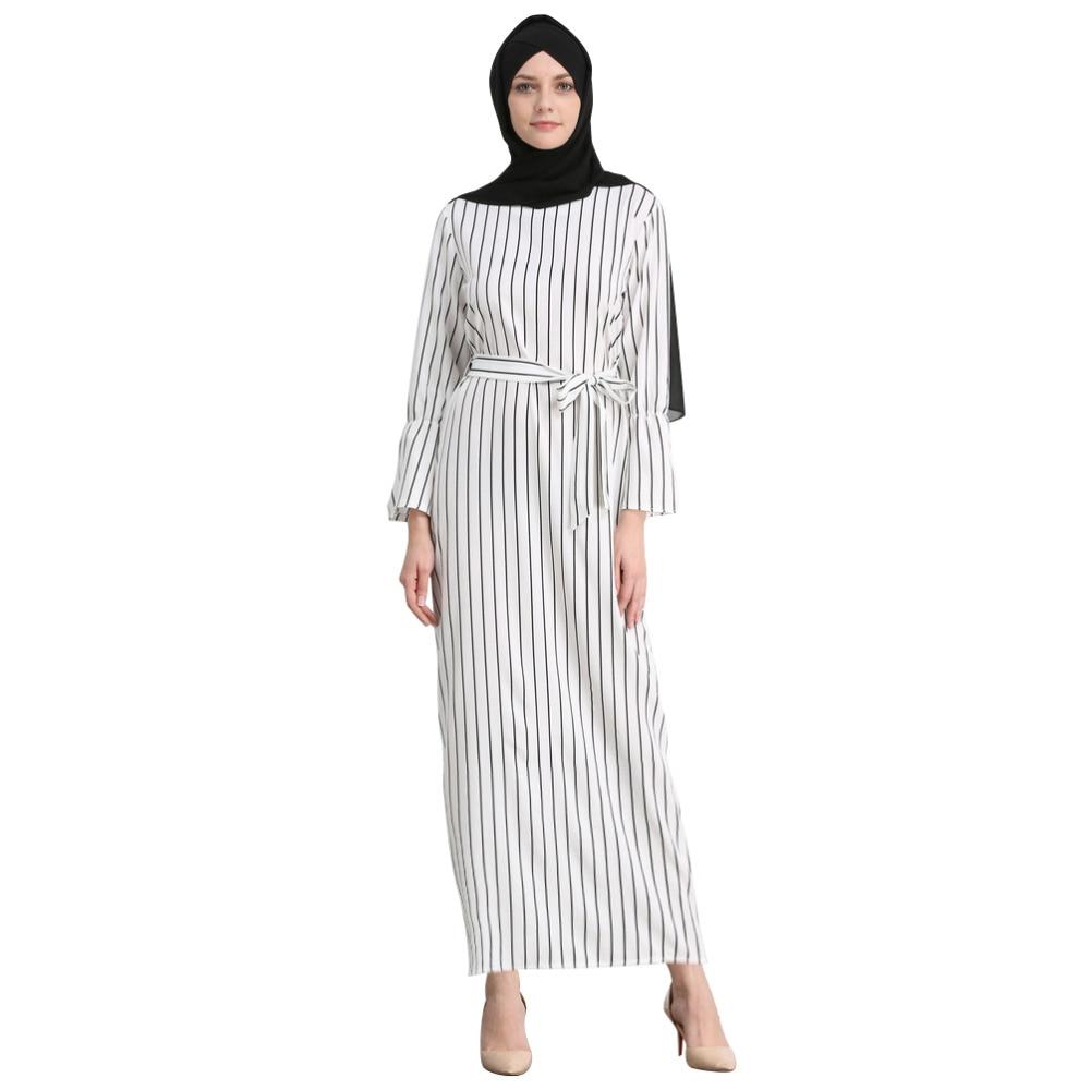 Elegant Cotton Striped Dubai Kaftan Dress 2