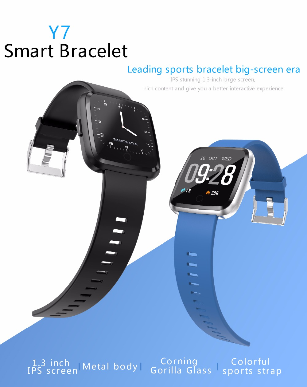 Y7 Fitness band Color Screen Blood Pressure Smart Watch Blood Oxygen  Measurement IP67 Waterproof Smart Band