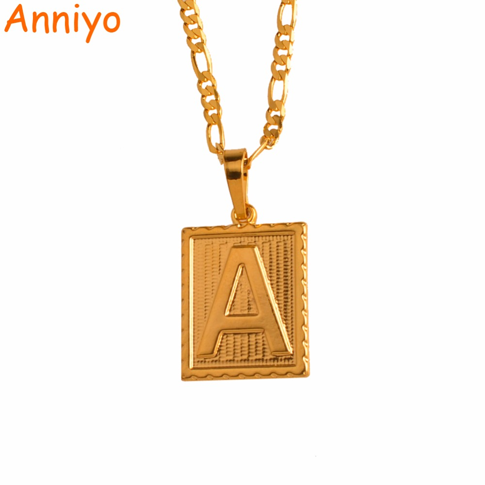 Anniyo A-Z Square Letters Necklace Gold Color Initial Pendant Chain for Men/Women,English Letter Jewelry Gifts #104006