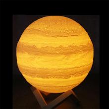 Jupiter Night Ligth 3D Print LED Moon Lamp Home Bedroom Decor Creative Light USB Recharge Touch 3 Colors Changeable