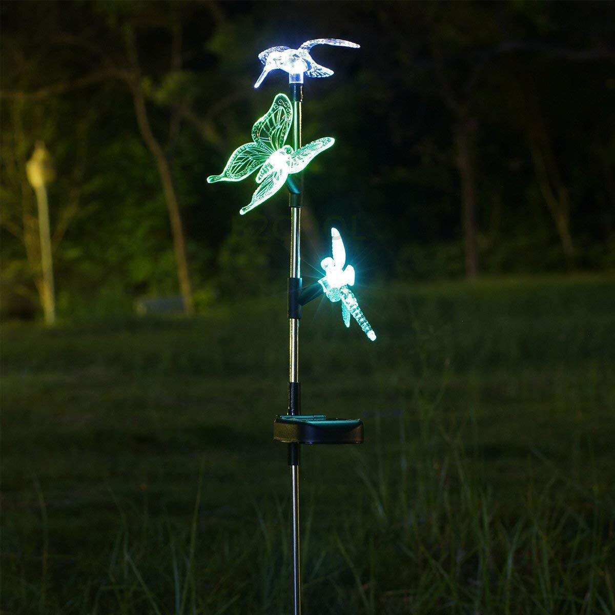 Brand New Outdoor Solar Garden Bird LED Light Butterfly Dragonfly Solar Garden Stake Light Stainless Steel Stake Chameleon co in Outdoor Wall Lamps from Lights Lighting
