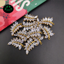 Charms Zircon Crystal Leaf Pendant Gold color Copper Charm Pendant for Bracelets Necklace Women Gift Jewelry 24.6*17 mm 10 pcs