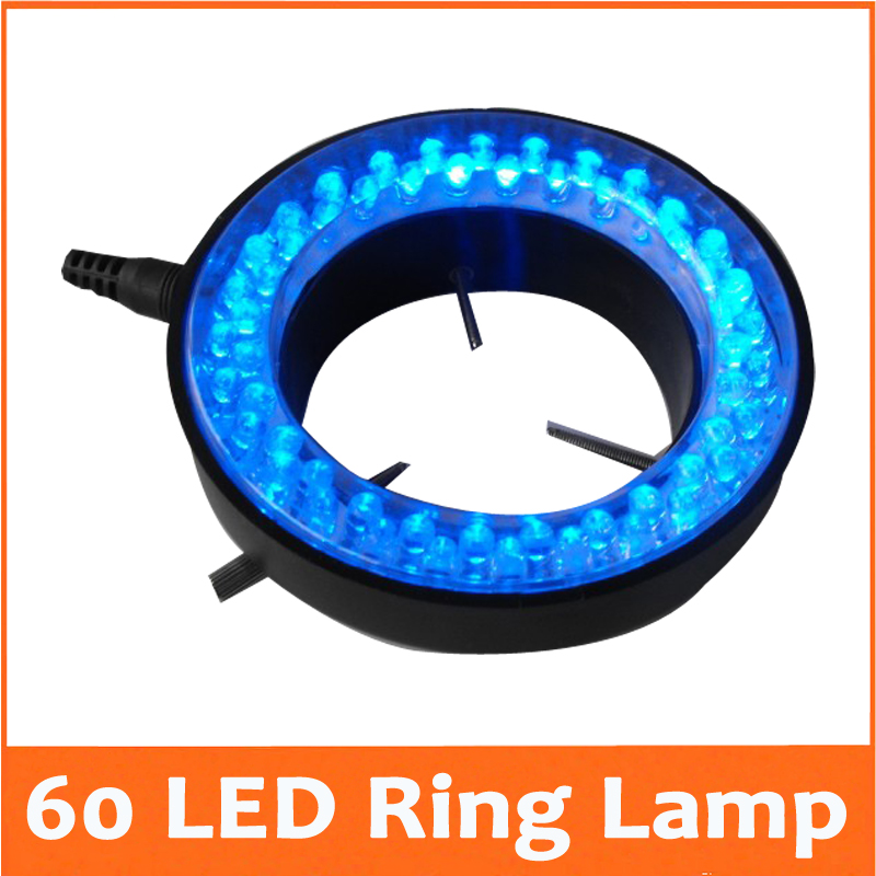ФОТО Blue Color Lights - 60PCS LED Brightness Adjustable Illuminated Ring Lamp with Adapter 220V or 110V for Stereo Microscope