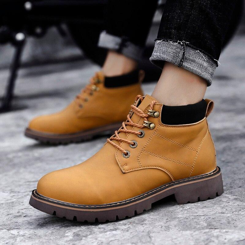 Véritable Hiver Hommes Noir Automne Chaussures En Caoutchouc Mâle Martin Travail Bottes jaune Cuir Cheville Haut D'hiver dessus marron cR4WRS5