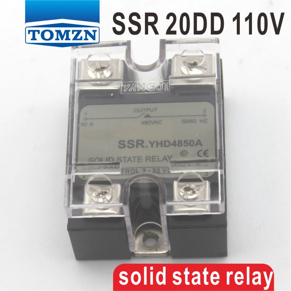 цена на 20DD SSR Control voltage 3~32VDC output 5~110VDC DC single phase DC solid state relay